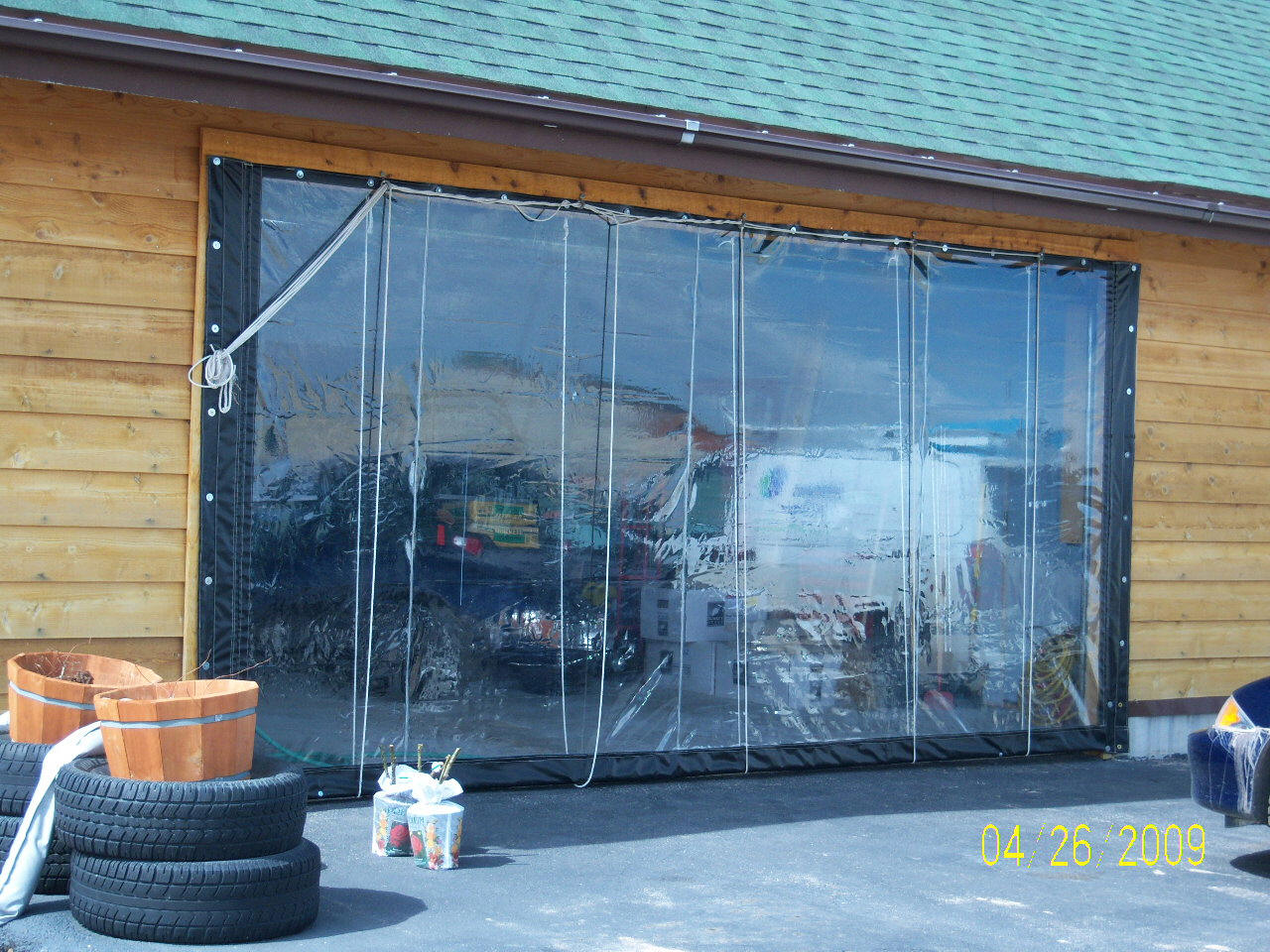Plastic Covers Garages : Solar heated shop garage using vinyl curtain