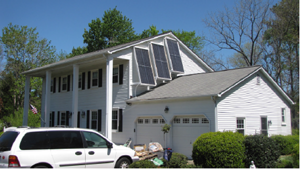 outside view of solar thermal heating installation